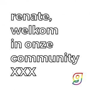 Renate welkom in onze community